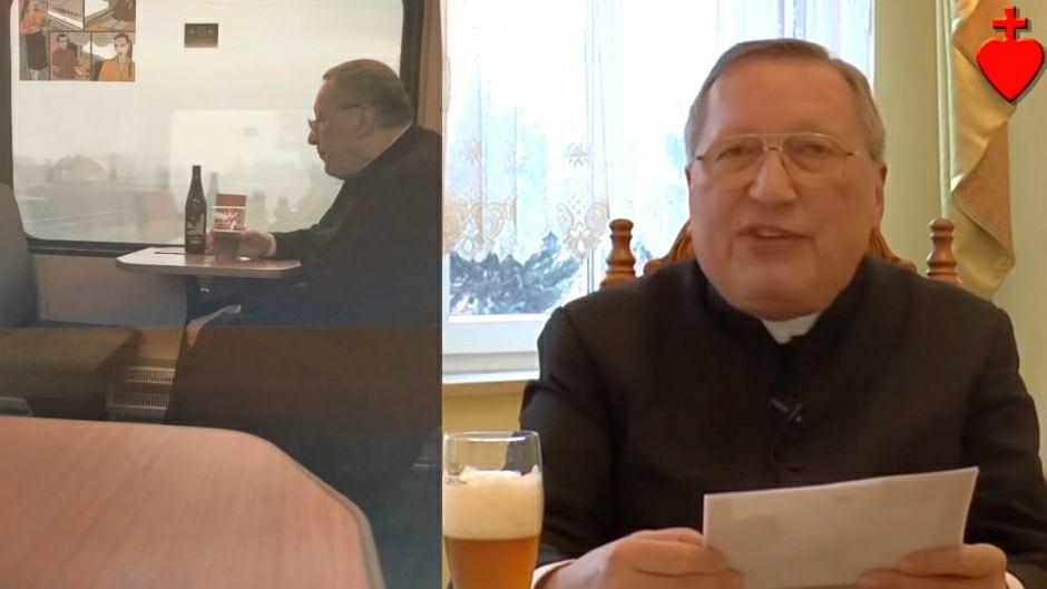 Ks. Roman Kneblewski i kadr z kazania o piciu alkoholu