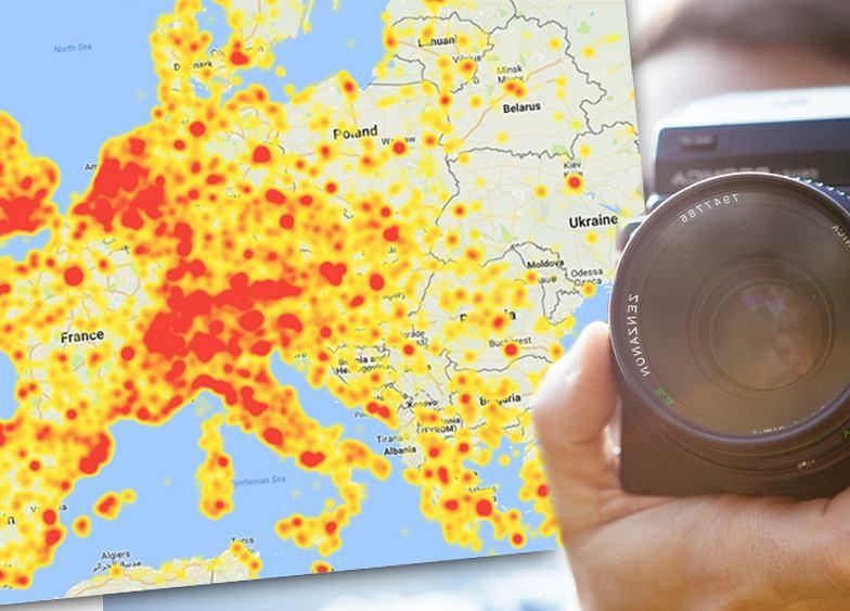 Warszawa aż 'płonie'. Mapa miejsc, których zdjęcia są w tej chwili najczęściej pokazywane w sieci