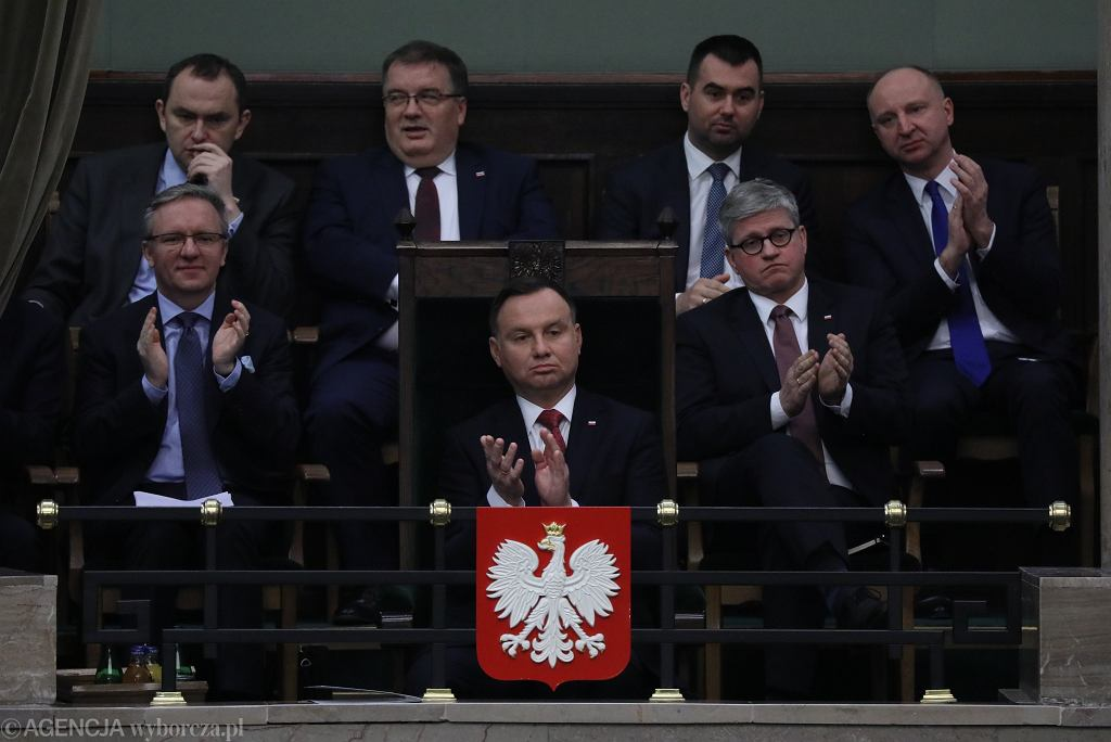 Andrzej Duda podczas expose Jacka Czaputowicza