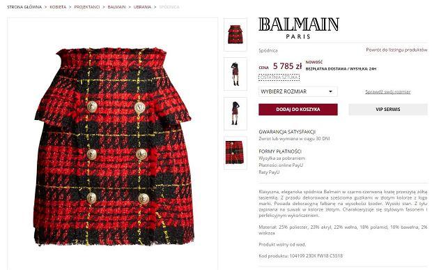 Spódnica Małgorzaty Rozenek marki Balmain w butiku Moliera 2