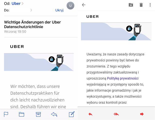 Uber wiadomość