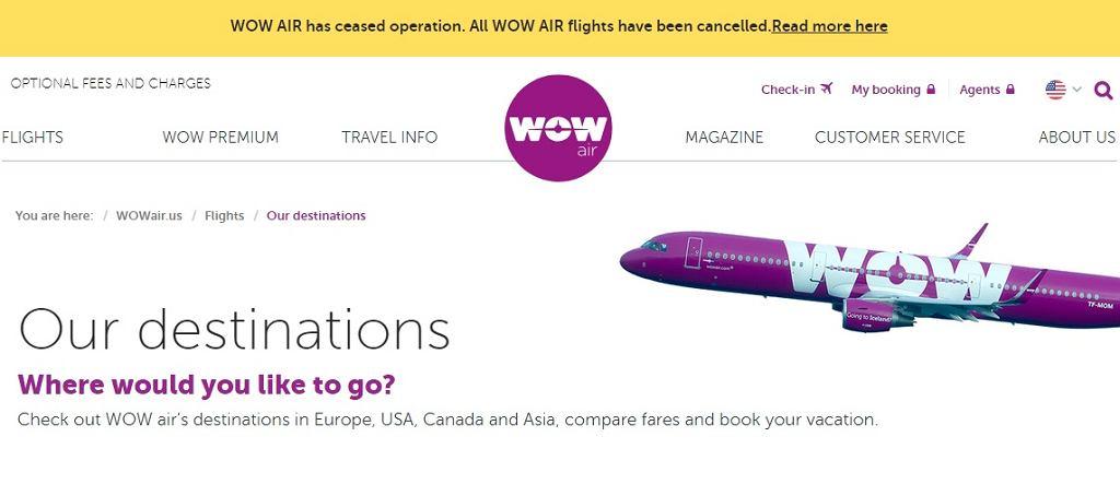 WOW Air ogłosiło na swojej stronie, że odwołuje wszystkie loty w związku z upadłością