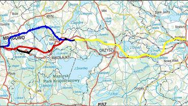 Trasa kilku wariantów nowej drogi krajowej S16 przez Mazury