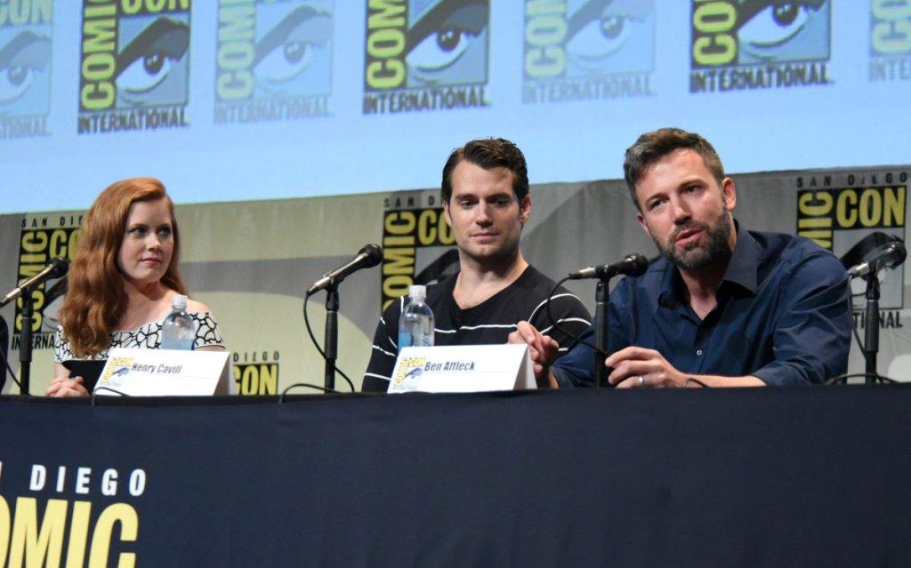 Amy Adams, Henry Cavill, Ben Affleck podczas konferencji prasowej promującej film