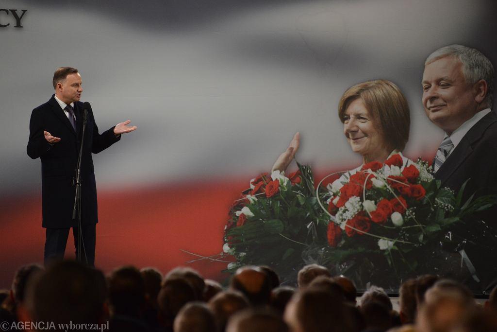 Prezydent Andrzej Duda podczas obchodów 9. rocznicy katastrofy smoleńskiej