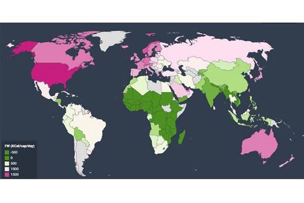 Marnowanie żywności - obszary zaznaczone na czerwono to miejsca, gdzie wyrzuca się równowartość 1000 kalorii, na zielono, gdzie zjawisko nie ma miejsca