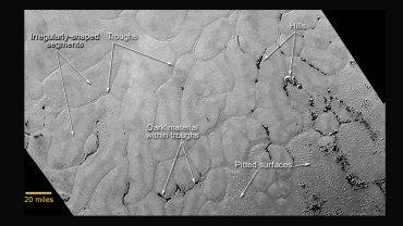 Lodowe równiny na Plutonie