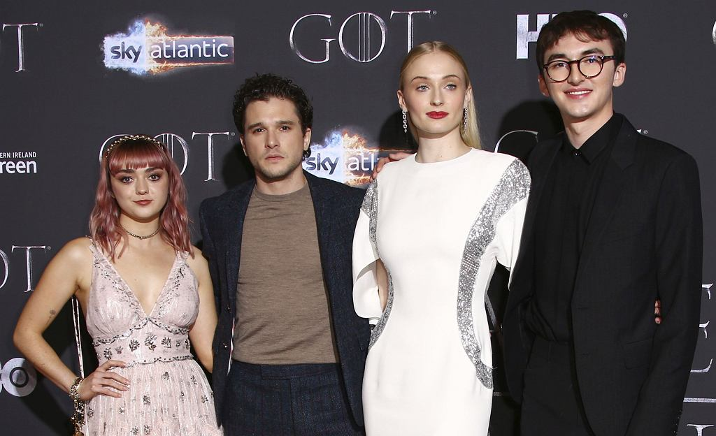 Obsada serialu 'Gra o tron' - Maisie Williams, Kit Harington, Sophie Turner i Isaac Hempstead