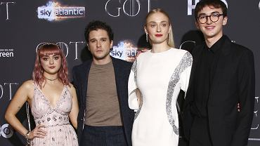 Obsada serialu 'Gra o tron' - Maisie Williams, Kit Harington, Sophie Turner i Isaac Hempstead