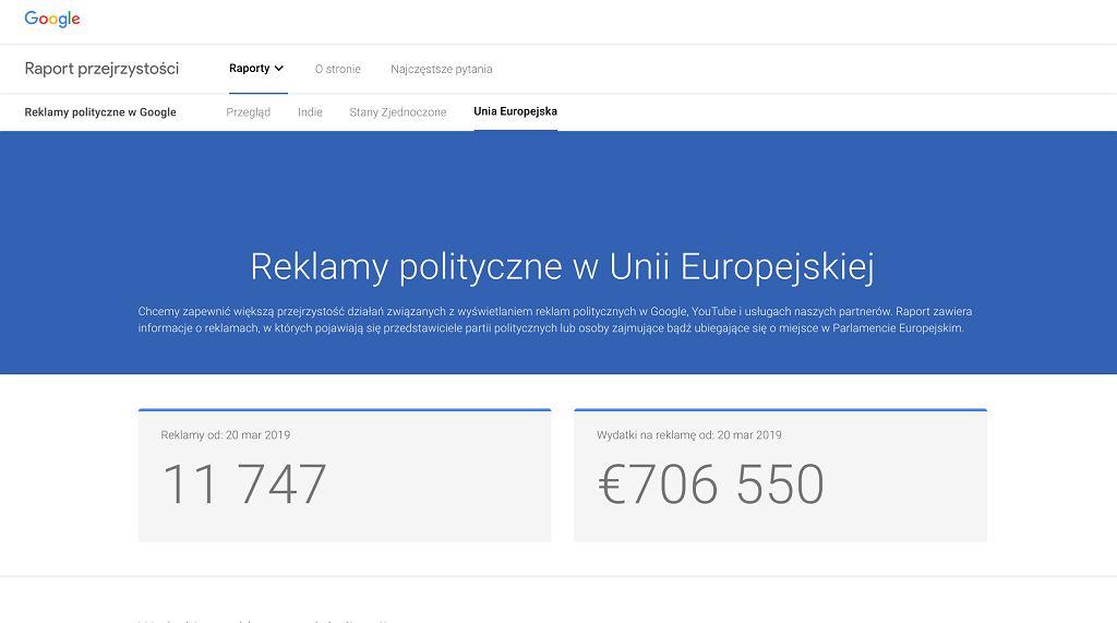 Reklamy wyborcze w Unii Europejskiej  w Google