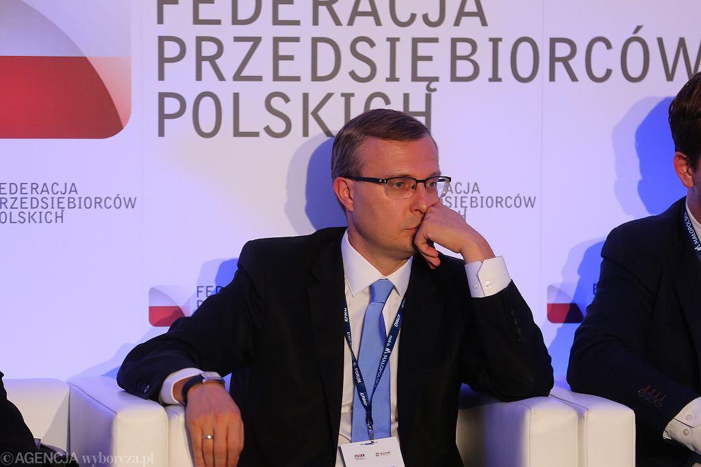 Szef Polskiego Funduszu Rozwoju, odpowiedzialny za wdrożenie reformy emerytalnej Paweł Borys podczas XXVIII Forum Ekonomicznego w Krynicy. 4 września 2018