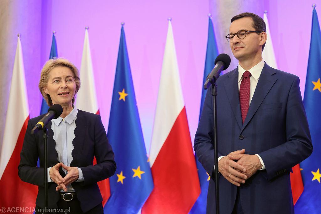 Ursula von der Leyen z premierem Mateuszem Morawieckim w Warszawie, 25 lipca 2019 r.