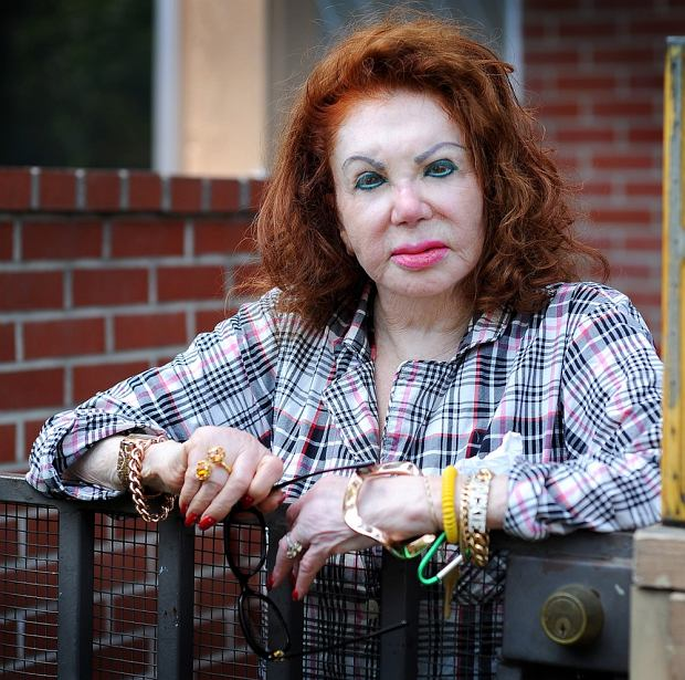 EXCLUSIVE - Pictures by Jeff Rayner/Coleman-Rayner Sylvester Stallone's mother, Jackie Stallone relaxes in her pajamas whilst photographed at her home in Santa Monica, CA with her dog GG. CREDIT LINE MUST READ: Jeff Rayner/Coleman-Rayner Tel US (001) 323 687 8025 - Mobile Tel US (001) 310 474 4343  - Office jeff@coleman-rayner.com