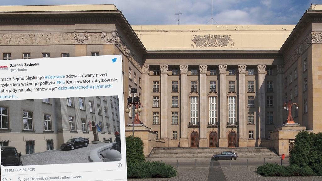Część gmachu Sejmu Śląskiego pomalowano