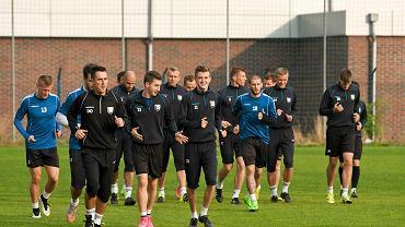 Zawisza już po rezygnacji Mariusza Rumaka podczas treningu. Daniel Osiński (drugi z lewej)