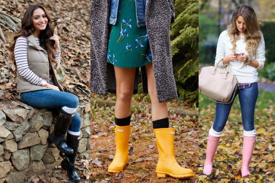 Kalosze damskie - stylizacje na jesień