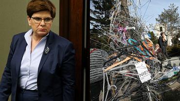 Premier Szydło i wieszaki przed Sejmem