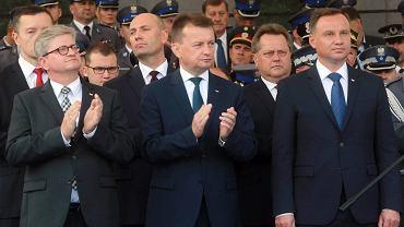 Prezydent Andrzej Duda podczas obchodów Święta Policji w Centrum Szkolenia Policji w Legionowie