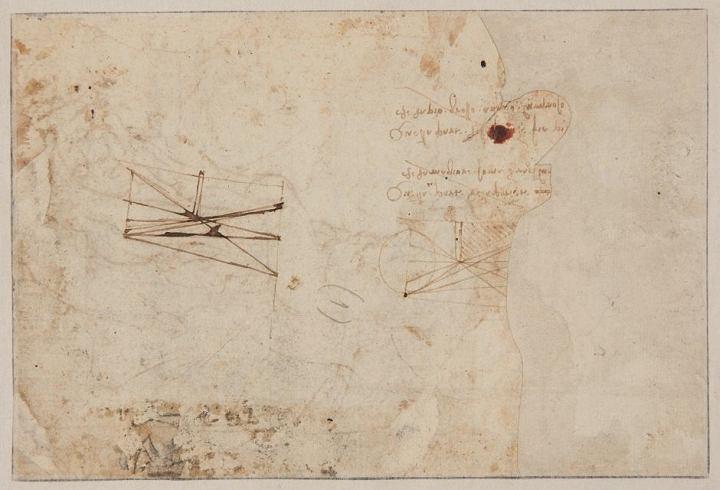Druga strona arkusza z odręcznymi notatkami Leonarda da Vinci