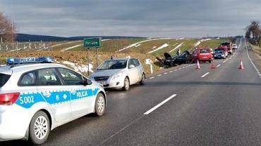 23.12.2018, wypadek na drodze krajowej 74 koło Piórkowa