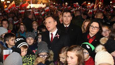Prezydent Andrzej Duda i prezydent Białej Podlaskiej Dariusz Stefaniuk wczoraj wieczorem podczas obchodów 97. rocznicy odzyskania niepodległości