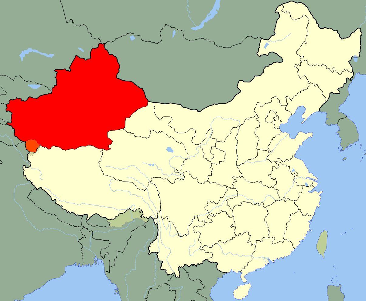 Wyróżniona na czerwono część Chin to Sinkiang (autor: Joowwww / wikimedia.org / domena publiczna)