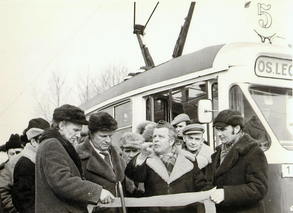 Tramwaj linii nr 5 na otwarciu trasy kórnickiej - Poznań, 23 lutego 1979 roku