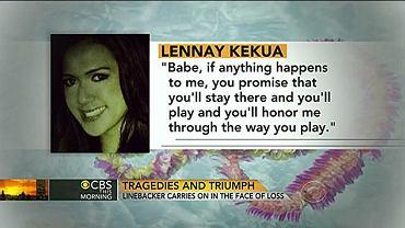 Zdjęcie z telewizji CBS, która wielokrotnie pokazała zdjęcie dziewczyny Te'o z jej 'słowami', które miały dać futboliście siłę do gry