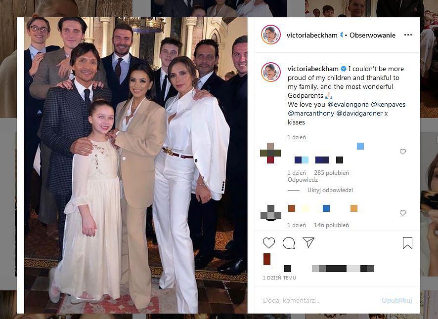 Victoria Beckham pokazała zdjęcia z chrztu najmłodszych dzieci
