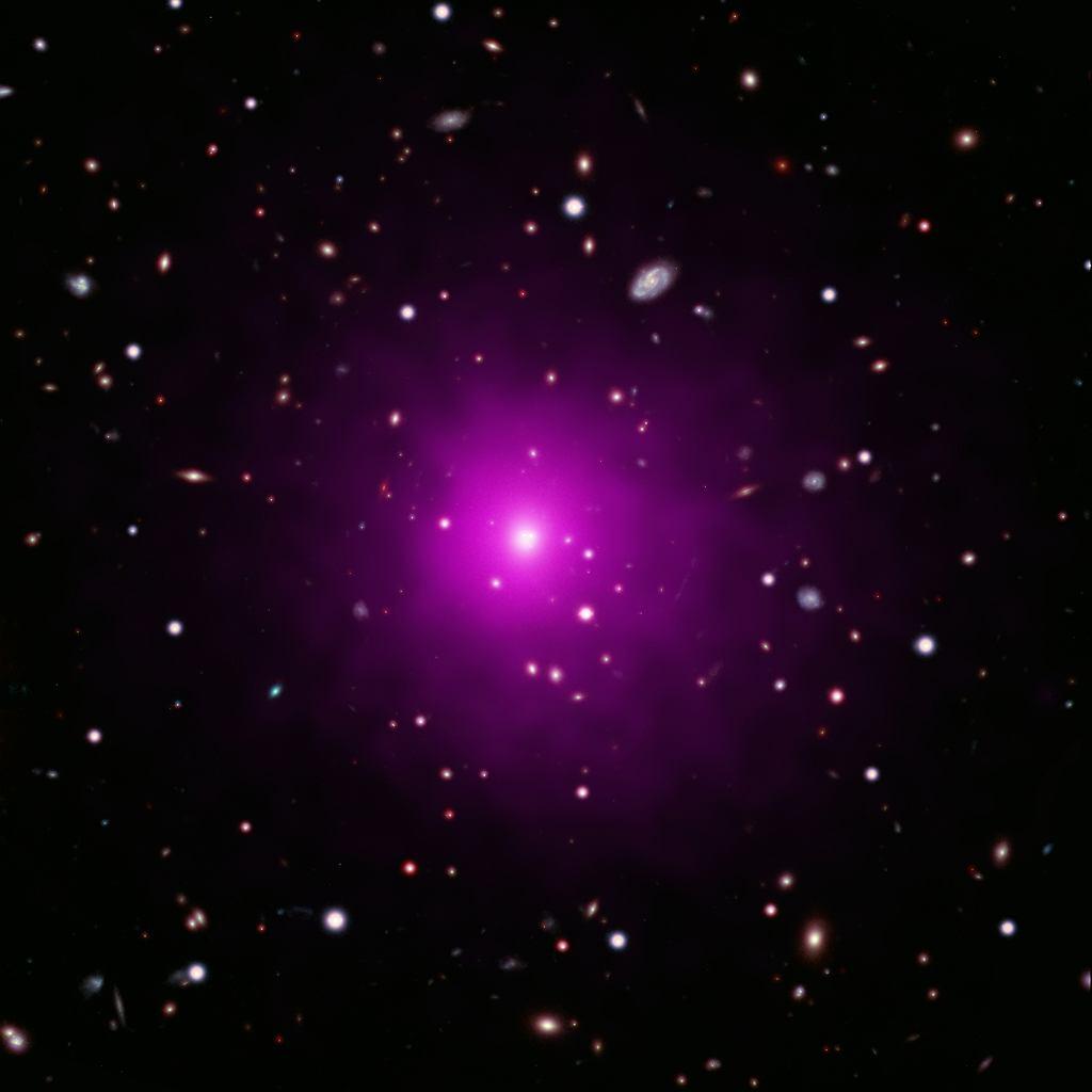 Galaktyka Abell 2261 - połączenie zdjęcia rentgenowskiego, w świetle widzialnym i w podczerwieni