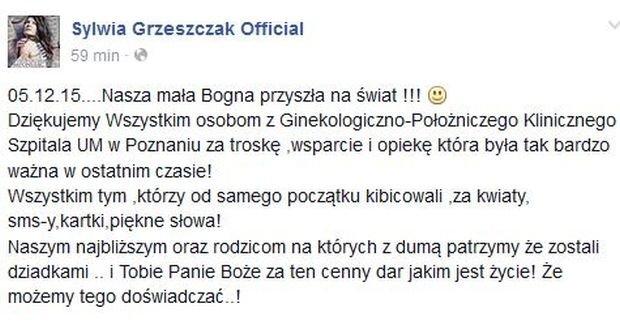 Wpis na profilu Sylwii Grzeszczak