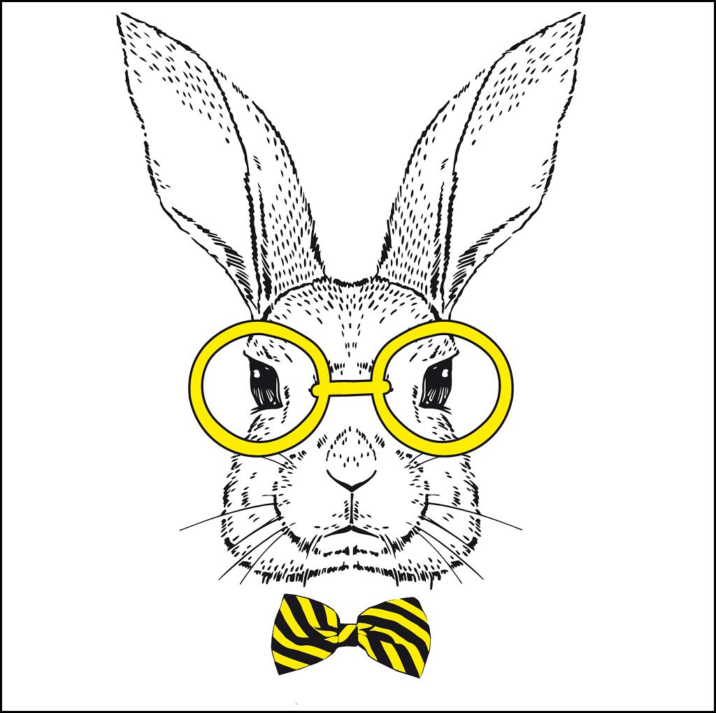 Hand drawn fashion portrait of bunny / Olga Angelloz