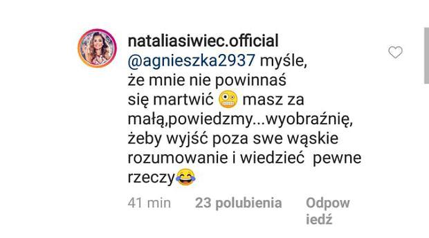 Natalia Siwiec odpowiada na krytykę