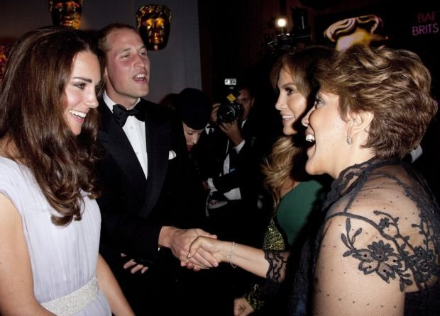 The Duke and Duchess of Cambridge talk to Jennifer Lopez and her mother Guadalupe Rodriguez at the BAFTA Brits to watch event held at the Belasco Theatre in Los Angeles, California, USA.