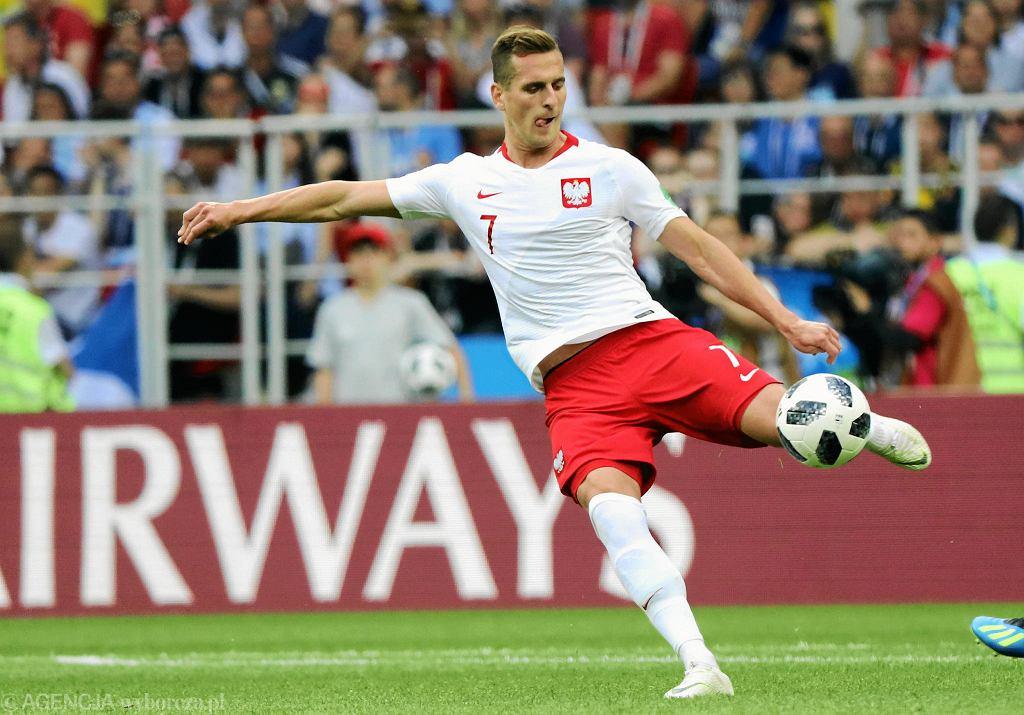 Mistrzostwa Świata w Piłce Nożnej . Arkadiusz Milik podczas meczu fazy grupowej Polska - Senegal
