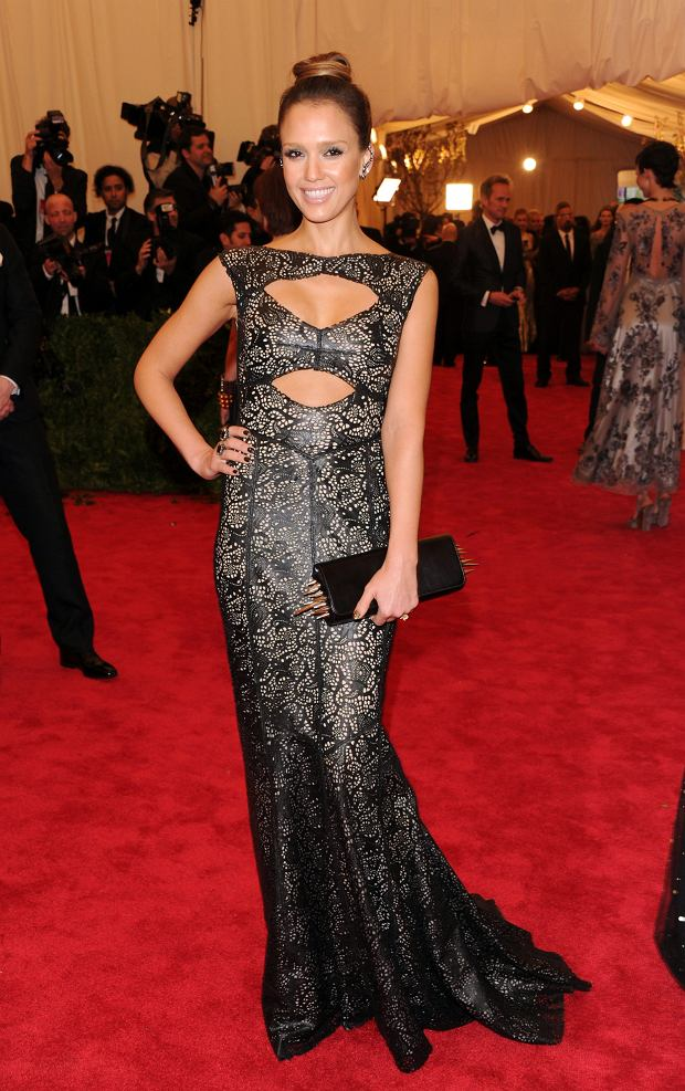 "Jessica Alba attends The Metropolitan Museum of Art's Costume Institute benefit celebrating ""PUNK: Chaos to Couture"" on Monday, May 6, 2013 in New York. (Photo by Evan Agostini/Invision/AP)"