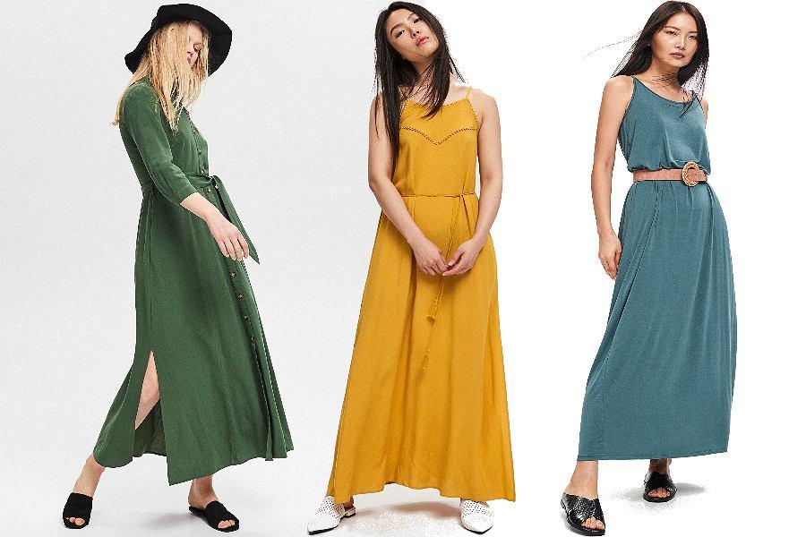 Gładkie sukienki maxi