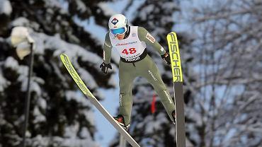 Kamil Stoch podczas zawodów Pucharu Świata w skokach narciarskich. Zakopane, 13 stycznia 2021