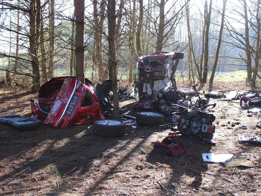 Skradzioną mazdę demontowali w 'leśnej dziupli'