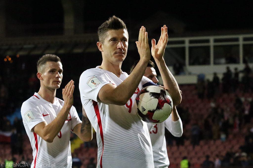 Robert Lewandowski po meczu eliminacji mistrzostw świata Polska - Armenia. Erywań, 5 października 2017