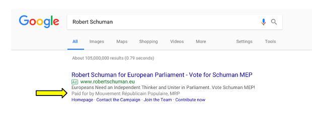 'Opłacono przez' w wyszukiwarce Google