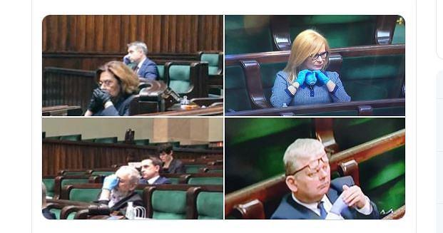 Posłowie zostali wyposażeni w maseczki i rękawiczki