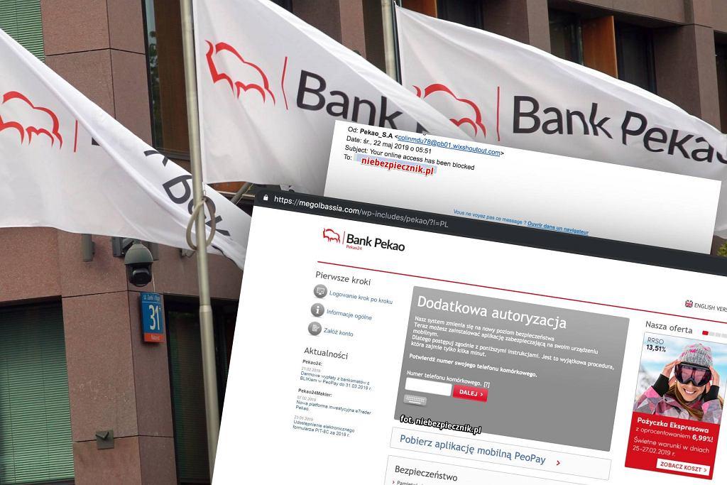 Bank Pekao ostrzega przed fałszywą stroną