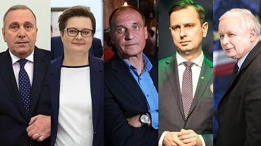 Grzegorz Schetyna, Katarzyna Lubnauer, Paweł Kukiz, Władysław Kosiniak-Kamysz  i Jarosław Kaczyński