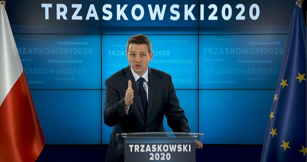 Rafał Trzaskowski na konferencji 17 maja poświęconej jego startowi w wyborach prezydenta RP