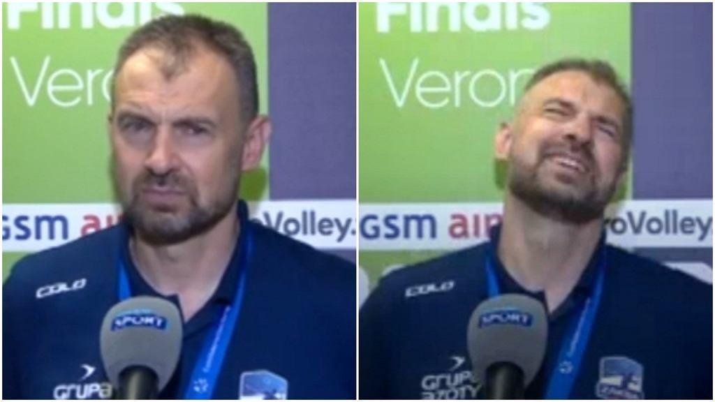 Reakcja Nikoli Grbicia na pytanie o swoją przyszłość od dziennikarza Polsatu Sport