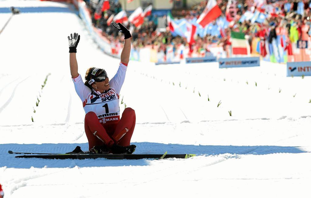 Justyna Kowalczyk podczas mistrzostw świata w narciarstwie klasycznym Val di Fiemme w 2013 r.