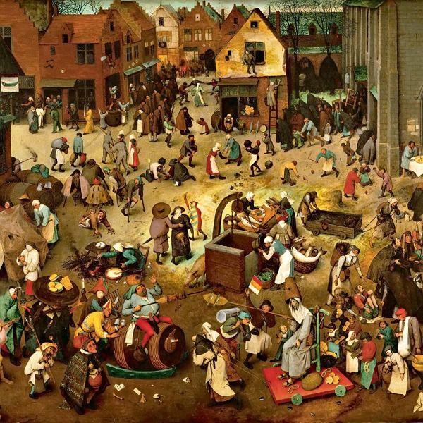 Walka karnawału zpostem, obraz Pietera Bruegla starszego (1559r., Muzeum Historii Sztuki w Wiedniu)