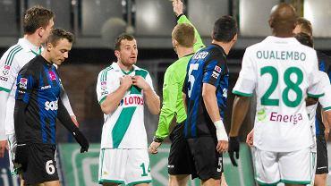 Zawisza - Lechia 0:3. Żółtą kartką ukarany Piotr Wiśniewski