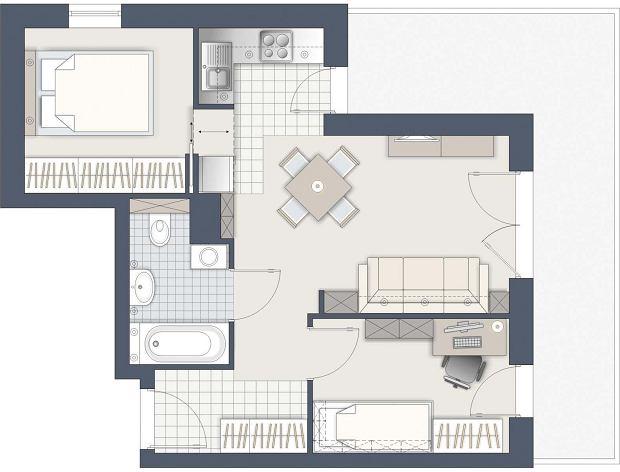 Trzeci pokój w dwupokojowym mieszkaniu - wersja A